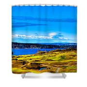 The Scenic Chambers Bay Golf Course Iv - Location Of The 2015 U.s. Open Tournament Shower Curtain by David Patterson