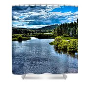 The Scenic Moose River Shower Curtain