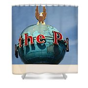 The Seattle Pi Globe Sign Shower Curtain by Kym Backland