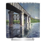 The Seine And Railroad Bridge At Argenteuil Shower Curtain