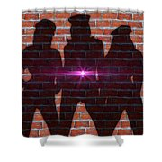 The Shadow Of The Grafitti Ladies Shower Curtain