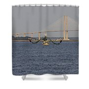 The Shrimp Boat Predator  Art Shower Curtain