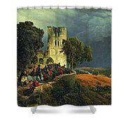 The Siege. Defense Of A Church Courtyard During The Thirty Years' War Shower Curtain