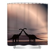 The Silhouetted Forms Of A Pair Shower Curtain