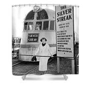 The Silver Streak Train Shower Curtain