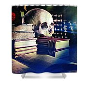 The Skull The Spell Book And The Rose Shower Curtain