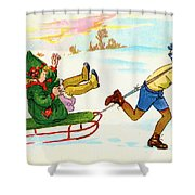 The Sled Shower Curtain
