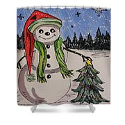 The Snowman's Tree Shower Curtain