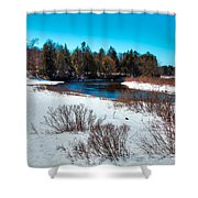 The Snowy Moose River - Old Forge New York Shower Curtain