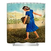 The Sower Of The Seed Shower Curtain by Clive Uptton