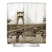 The St. Johns Bridge Is A Steel Suspension Bridge That Spans The Willamette River Shower Curtain