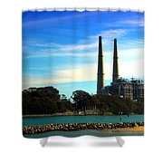 The Stacks Moss Landing Ca Shower Curtain