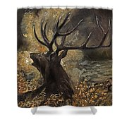 the Stag sitting in the grass oil painting Shower Curtain