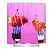 The Star On Strawberry Miniature Art Shower Curtain