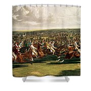 The Start Of The Memorable Derby Of 1844 Shower Curtain by Charles Hunt