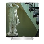 The Statue In The Stairway Shower Curtain