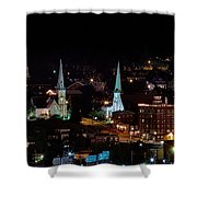 The Steeple City Shower Curtain