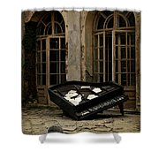 The Stone Sphere And Broken Grand Piano Shower Curtain