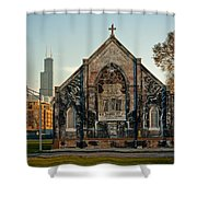 The Stranger's Church And Willis Tower Shower Curtain