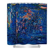 The Street Cafe Oil On Canvas Shower Curtain