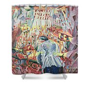 The Street Enters The House Shower Curtain by Umberto Boccioni