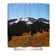 The Sugar Coated Mountains Shower Curtain