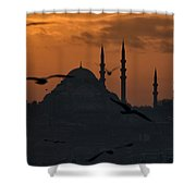 The Suleymaniye Mosque At Sunset Shower Curtain