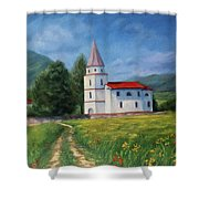 The Sunny Road Landscape With Field And Church Shower Curtain