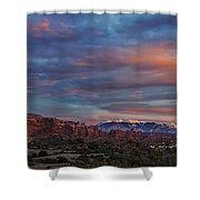 The Sun Sets At Balanced Rock Shower Curtain