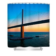 The Sunshine Under The Sunshine Skyway Bridge Shower Curtain by Rene Triay Photography