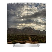 The Superstition Mountains After A Storm  Shower Curtain