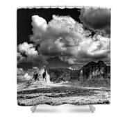 The Superstitions - Black And White  Shower Curtain