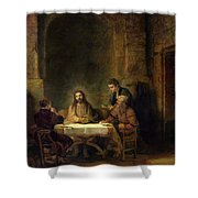 The Supper At Emmaus, 1648 Oil On Panel Shower Curtain
