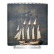 The Tall Ship Windy Shower Curtain