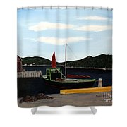 The Tekakwitha - Black Schooner Shower Curtain