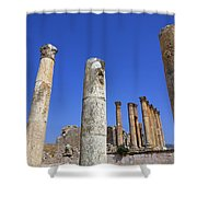 The Temple Of Artemis At Jerash Jordan Shower Curtain