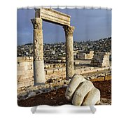The Temple Of Hercules And Sculpture Of A Hand In The Citadel Amman Jordan Shower Curtain