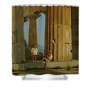 The Temple Of Poseidon. Paestum Shower Curtain