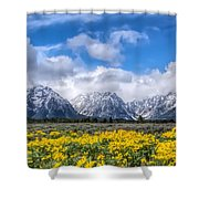 The Teton Mountain Range In The Spring Grand Teton National Park Shower Curtain
