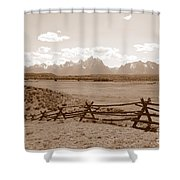The Tetons In Sepia Shower Curtain
