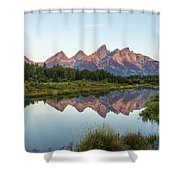 The Tetons Reflected On Schwabachers Landing - Grand Teton National Park Wyoming Shower Curtain