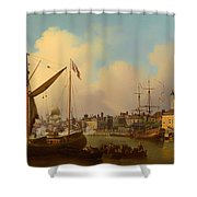 The Thames And Tower Of London On The King's Birthday Shower Curtain