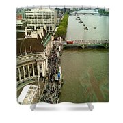 The Thames River And The Flag Of England Shower Curtain