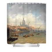 The Thames With Somerset House And St Pauls Cathedral Shower Curtain