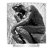 The Thinker In Black And White Shower Curtain