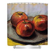 The Three Apples Shower Curtain