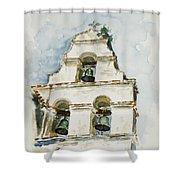 The Three-bell Campanario At Mission San Juan Bautista  Shower Curtain