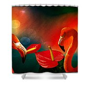 The Three Flamingos - Featured In 'feathers And Beaks' 'wildlife' And 'comfortable Art'  Groups Shower Curtain