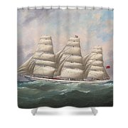 The Three-master Hahnemann In Full Sail Off A Headland Shower Curtain