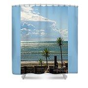 The Three Palms Shower Curtain